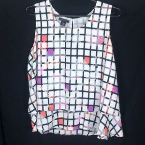 Metaphor women's L checkered tiered blouse